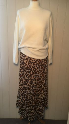 Pleated Maxi Skirt - Light Leopard Print